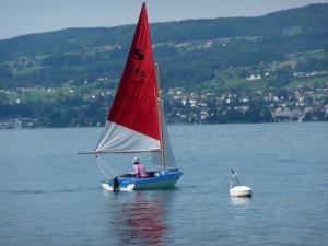 Dinghy sailing on Lake Zurich